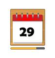 The Twenty-nine days on the calendar vector image