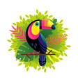toucan on a floral background vector image vector image