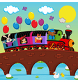train on bridge with animals vector image vector image
