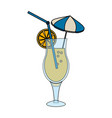 tropical cocktail with umbrella straw and garnish vector image vector image