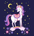 unicorn is standing on a rainbow on background vector image vector image
