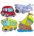 various cartoon vehicles vector image