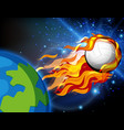 volleyball on fire shooting out earth vector image vector image