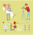 wedding couple and photographer vector image vector image