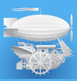 white complex fantastic flying ship vector image vector image