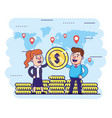 woman and man with global finance coins vector image