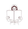 young girl with headband and glasses reading book vector image vector image