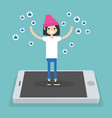 young successful girl standing on mobile screen vector image vector image