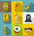 zombie teritory icon set flat style vector image vector image