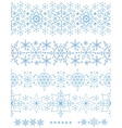 Snowflakes seamless bordersWinter pattern set vector image