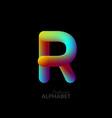 3d iridescent gradient letter r vector image vector image