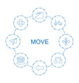 8 move icons vector image vector image