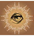 a magical eye in style boho contour vector image vector image