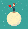 astronaut girl moon landing a businesswoman vector image