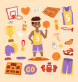 basketball stickers icons character vector image vector image