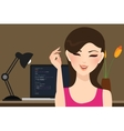 beautiful girl female programmer occupation jobs vector image vector image