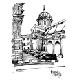 black and white sketch drawing of Rome cityscape vector image
