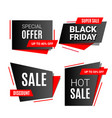 black friday sale banner discount set with text vector image