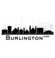 burlington iowa skyline black and white silhouette vector image vector image