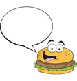 Cartoon hamburger with a caption balloon vector image vector image