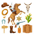 colorful wild west elements set vector image