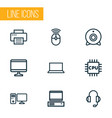 computer icons line style set with peripheral pc vector image vector image