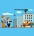 construction with workers vector image