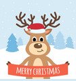 cute reindeer with snow and christmas tree vector image