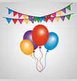 Decorative bunch balloons and colored garlands