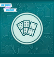 domino icon on a green background with arrows in vector image