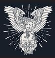 eagle skull wing vintage vector image