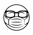 emoticon with sunglasses and medical mask vector image vector image