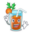 finger sweet carrot juice isolated on mascot vector image vector image