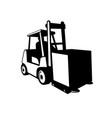 Forklift truck in operation viewed from front