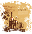 Hand drawn vintage wine menu background