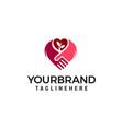 handshake love logo design concept template vector image