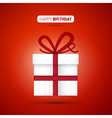 Happy Birthday white present on red background vector image vector image