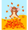 Happy fall mouse vector image vector image