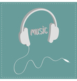 Headphones with cord and word Music Isometric icon vector image vector image