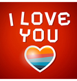 I Love You Title and Paper Heart on Red Background vector image