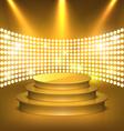Illuminated Festive Golden Premium Stage Podium vector image