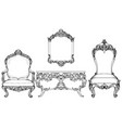 imperial baroque armchair and dressing table vector image vector image