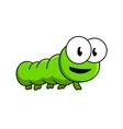 Inquisitive green cartoon caterpillar vector image