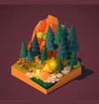 isometric camping in forest vector image
