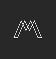 Logo M letter monogram thin line weaving geometric vector image vector image