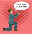 marriage proposal pop art vector image