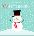 merry christmas snowman standing on snowdrift vector image