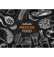 mexican food and drink sketch tequila shot vector image vector image