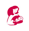 mom hugs balogo mothers day motherhood symbol vector image