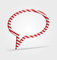 Red and white striped speech bubble vector image